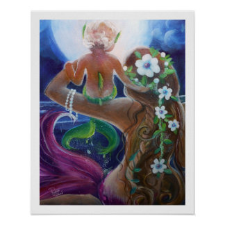 Mom and Baby Mermaids, Big Moon Poster