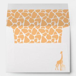 Mom and Baby Orange Giraffes Baby Shower Envelope