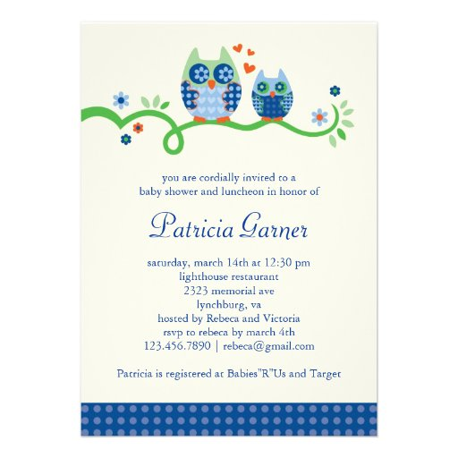 Mom And Baby Owl Baby Boy Shower Invitation 5 Quot X 7