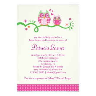 Mom and Baby Owl Baby Girl Shower Invitation
