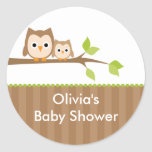 Mom and Baby Owl Baby Shower Stickers Stickers