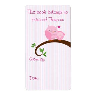 Mom and Baby Owl Book Label Shipping Label