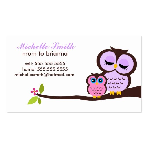 Mom and Baby Owl Calling Cards Business Card