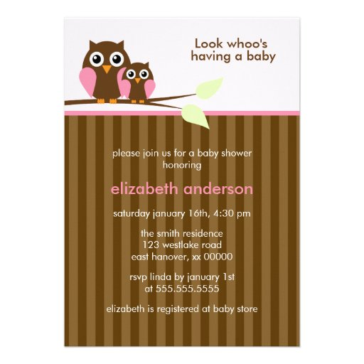 Mom And Baby Owl Pink Baby Shower 5x7 Paper Invitation