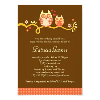 "Mom and Baby Owl Unisex Baby Shower Invitation 5"" X 7"" Invitation Card"