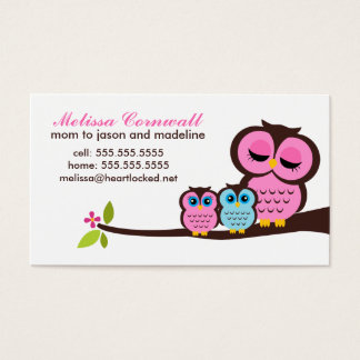 Mom and Baby Owls Calling Cards