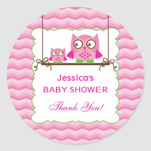 Mom And Baby Owls Girl Baby Shower Sticker