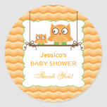 Mom and Baby Owls Unisex Baby Shower Sticker