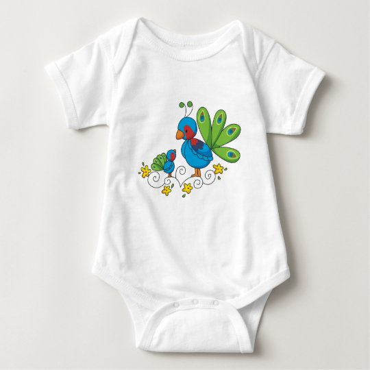 Mom and Baby Peacock Baby Bodysuit