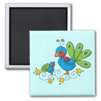 Mom and Baby Peacock 2 Inch Square Magnet