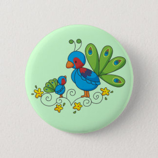 Mom and Baby Peacock Pinback Button