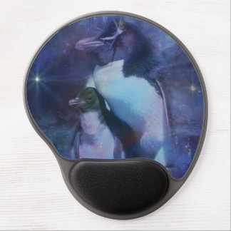 Mom and Baby Penguin in the Moonlight Gel Mouse Pad