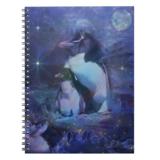 Mom and Baby Penguin in the Moonlight Notebook