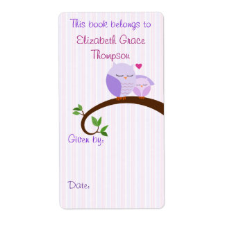Mom and Baby Purple Owls Book Label Shipping Label