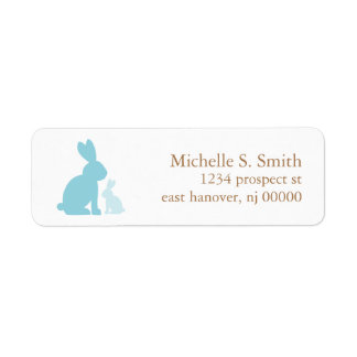 Mom and Baby Rabbits Baby Shower Label