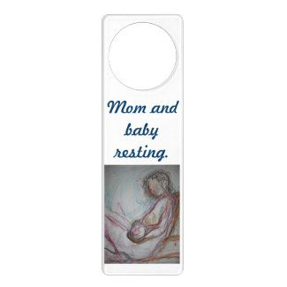 Mom and baby resting door hanger. door hanger