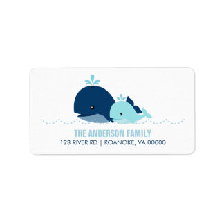 Mom and Baby Whale Baby Shower {blue} Address Label