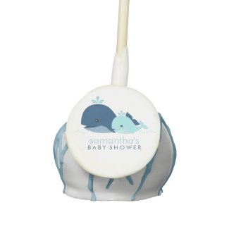 Mom and Baby Whale Baby Shower {blue} Cake Pops