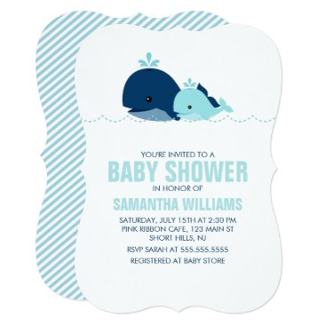 heartlocked Mom and Baby Whale Baby Shower {blue} Card