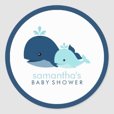 Beach Themed Mom and Baby Whale Baby Shower {blue} Classic Round Sticker