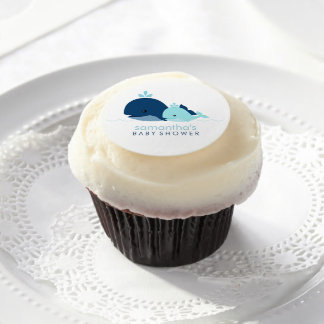 Mom and Baby Whale Baby Shower {blue} Edible Frosting Rounds