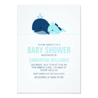 Mom and Baby Whale Baby Shower {blue} Custom Invitation