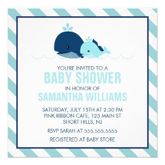 Mom and Baby Whale Baby Shower blue Personalized Invite