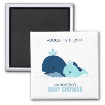 Mom and Baby Whale Baby Shower {blue} Magnet