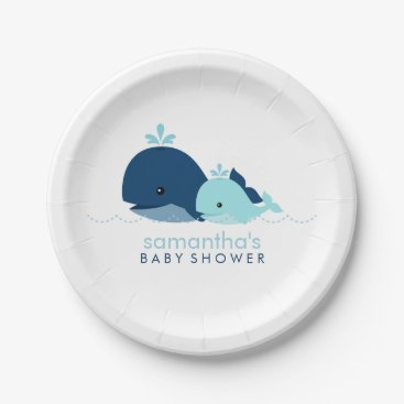 heartlocked Mom and Baby Whale Baby Shower {blue} Paper Plate