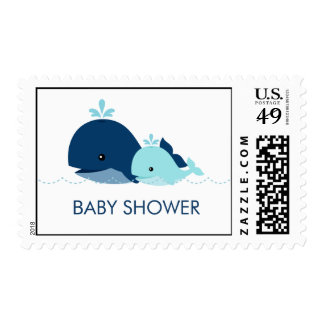 Mom and Baby Whale Baby Shower {blue} Postage