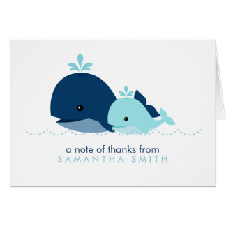 Mom and Baby Whale Baby Shower {blue} Stationery Note Card