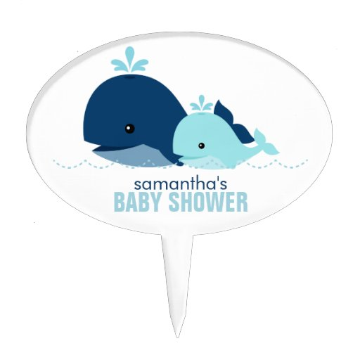 Mom and Baby Whale Baby Shower Cake Toppers