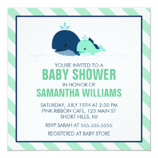 Mom and Baby Whale Baby Shower {green} 5.25x5.25 Square Paper Invitation Card