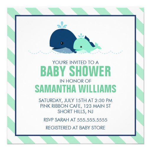 Mom And Baby Whale Baby Shower Green Invitations Zazzle