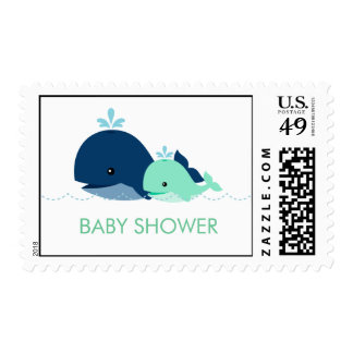 Mom and Baby Whale Baby Shower {green} Postage Stamp