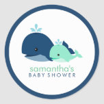 Mom and Baby Whale Baby Shower {green} Classic Round Sticker