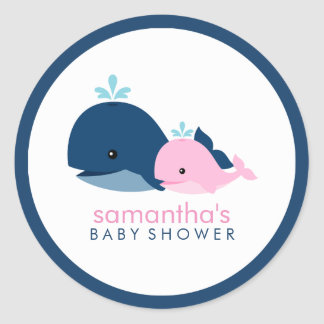Mom and Baby Whale Baby Shower {pink} Classic Round Sticker
