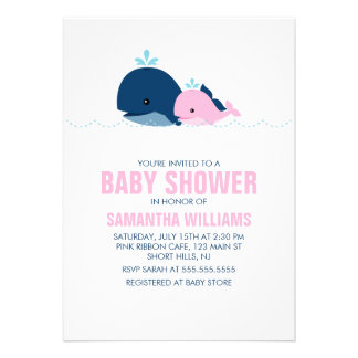 Mom and Baby Whale Baby Shower {pink} Custom Invite