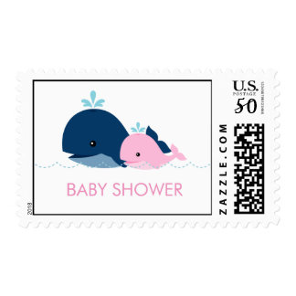 Mom and Baby Whale Baby Shower {pink} Postage