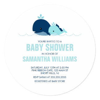 Mom and Baby Whale Boy Baby Shower 5.25x5.25 Square Paper Invitation Card