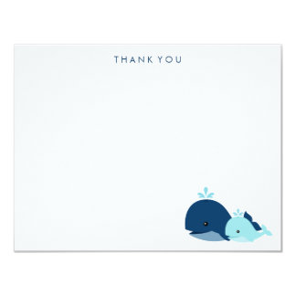Mom and Baby Whale Thank You Notes {blue} 4.25x5.5 Paper Invitation Card