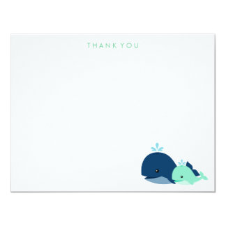 Mom and Baby Whale Thank You Notes {green} 4.25x5.5 Paper Invitation Card