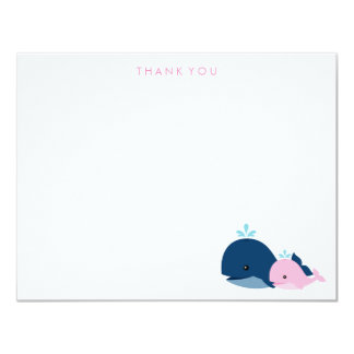 Mom and Baby Whale Thank You Notes {pink} Card