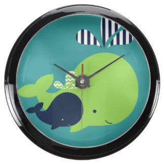 Mom and Baby Whales Aqua Clock