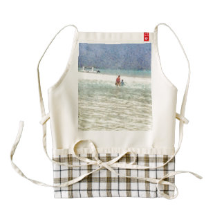 Mom and child at beach zazzle HEART apron