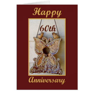 Mom and Dad 60th Anniversary with Love Birds Greeting Card