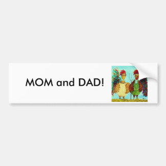 MOM and DAD American Gothic Roosters Bumper Sticker