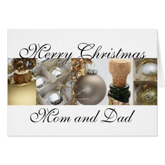 Mom and Dad Christmas black & White & Gold collage Card