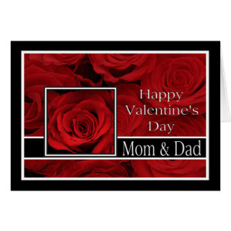 Mom and Dad  Happy Valentine's Day Roses Greeting Card