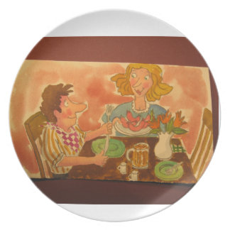 mom and dad love each other and hot dogs! dinner plate